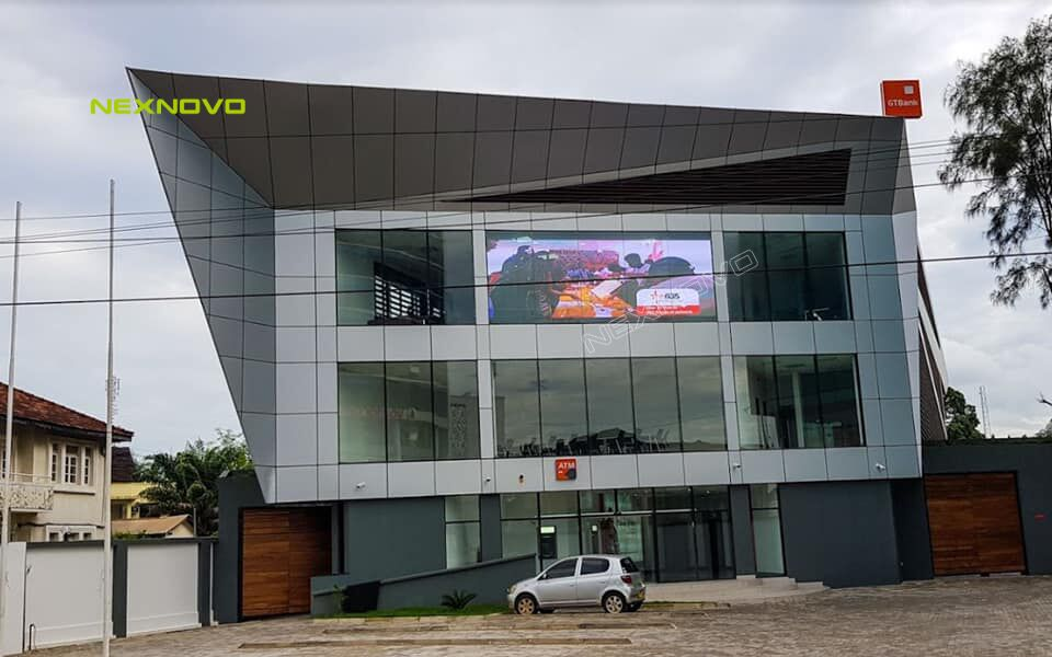 GT Bank office building with NEXNOVO transparent display in Tanzania