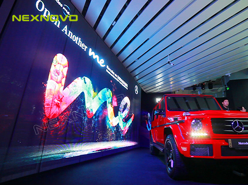 NEXNOVO transparent LED display for Mercedes-benz me experience store