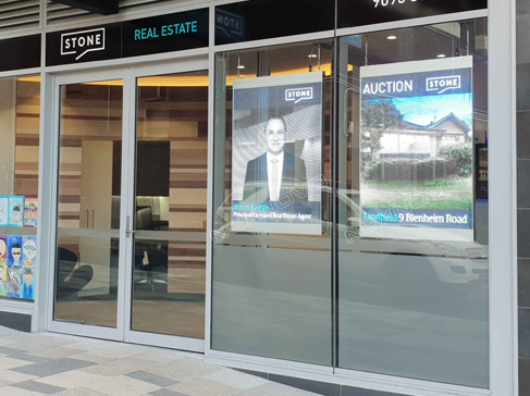 Real estate sales office in Australia transparent LED display
