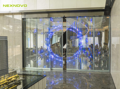 Perfect combination - The gate of technology center with high-tech transparent LED sliding door